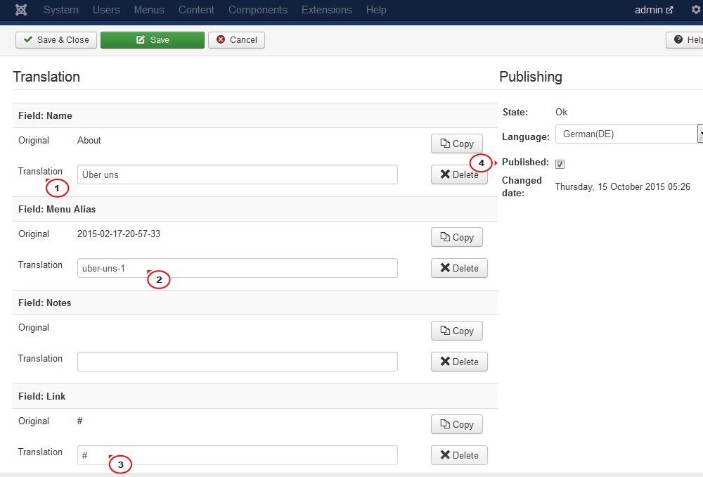 How to translate content with the Falang plugin