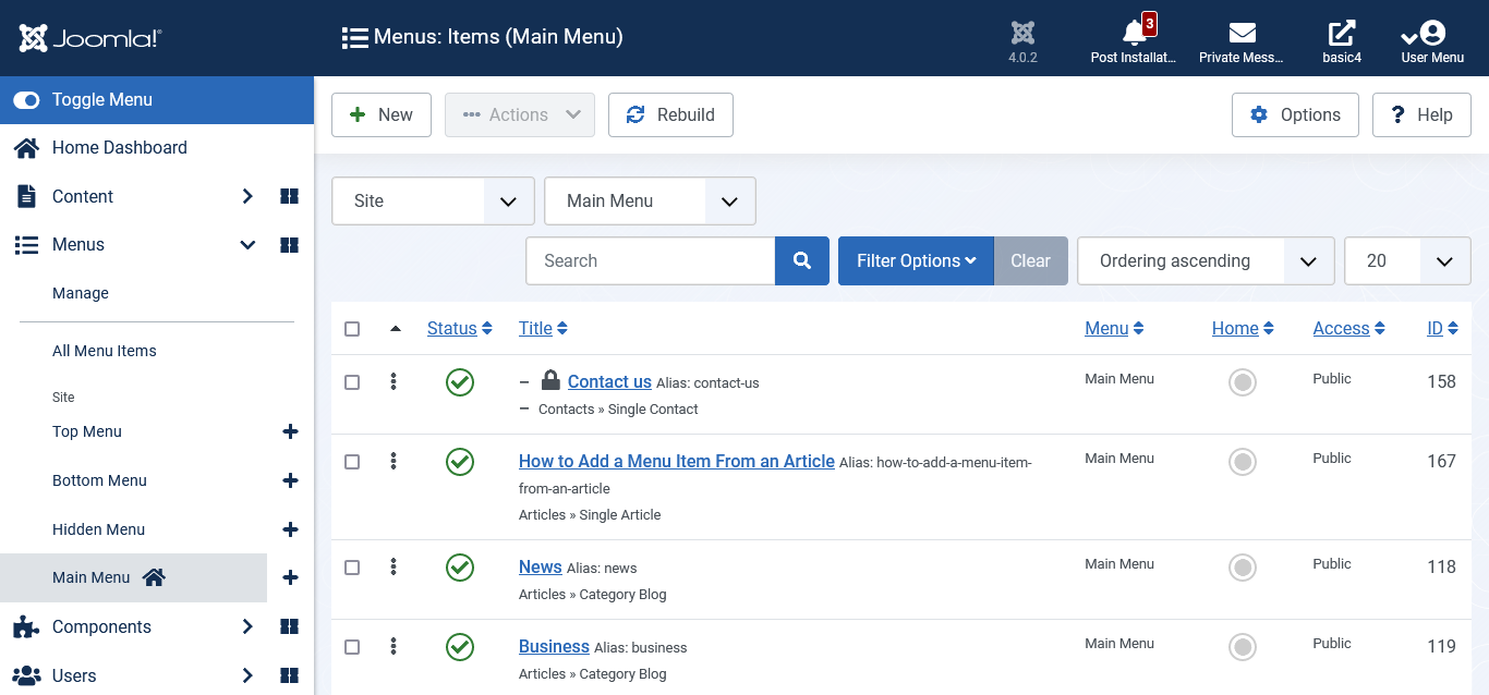 Joomla 4 Tutorial - How to Add a Menu Item From an Article