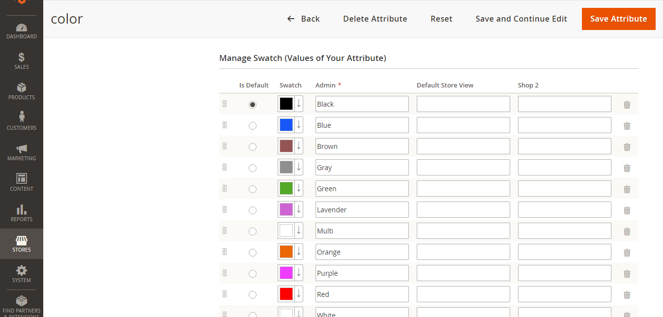 Magento 2 color swatches