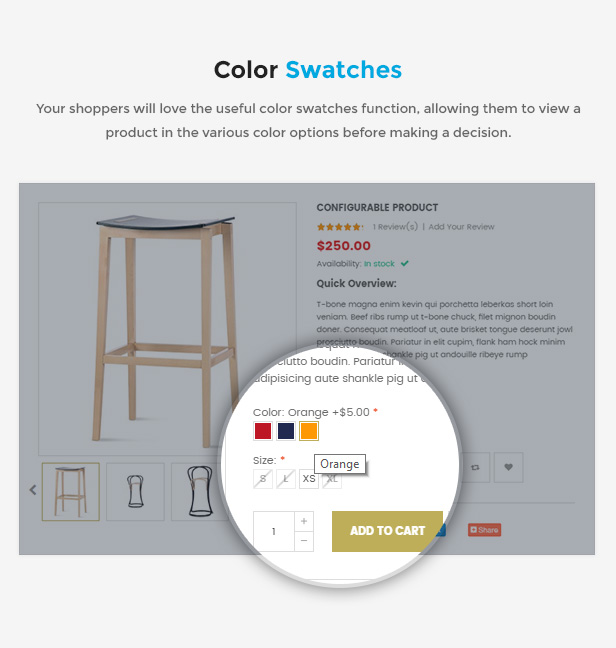 Responsive Magento 2.0 Theme - Color Swatches
