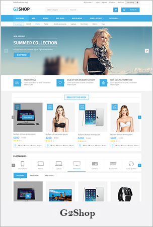 G2Shop - Responsive & Multipurpose Sectioned Bootstrap 4 Shopify Theme BigSale – The Clean, Minimal & Unlimited Bootstrap 4 Shopify Theme (12+ HomePages)