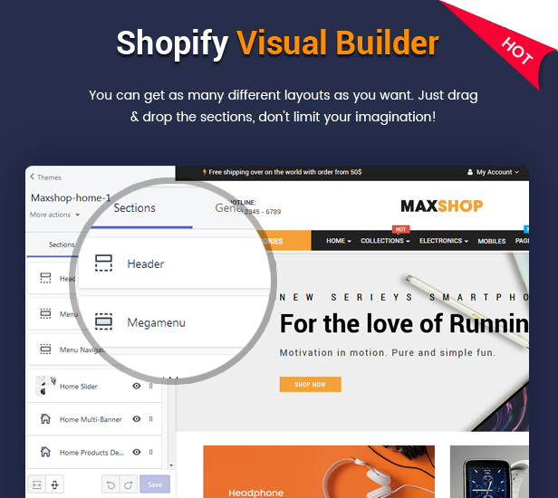 Maxshop - Best Drag vs Drop Shopify Theme for Online Store