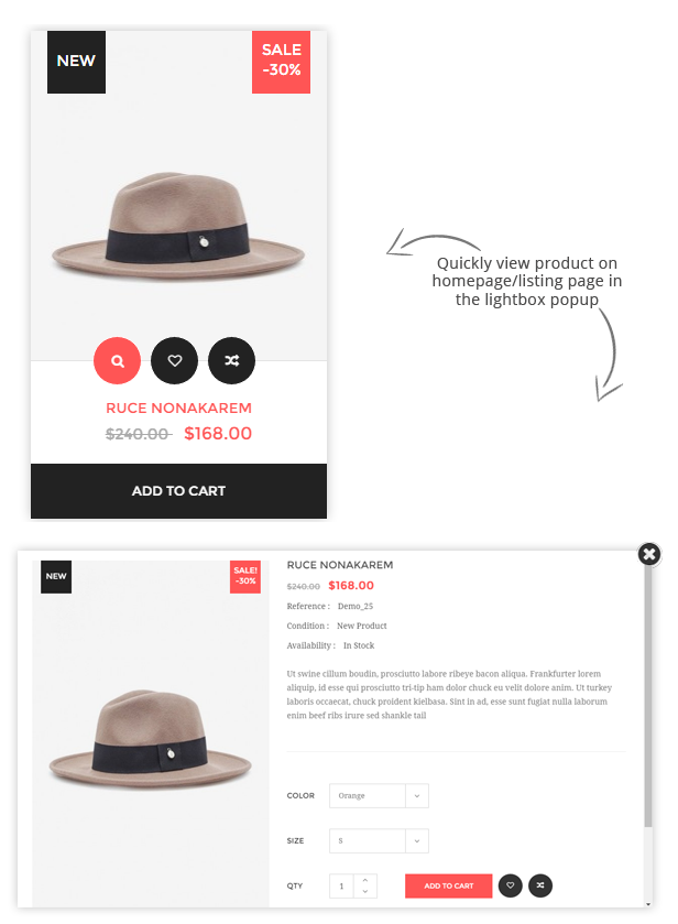 Prestashop Fashion Theme - Quick view