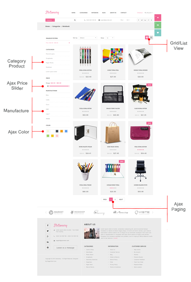 Stationery - Listing Page
