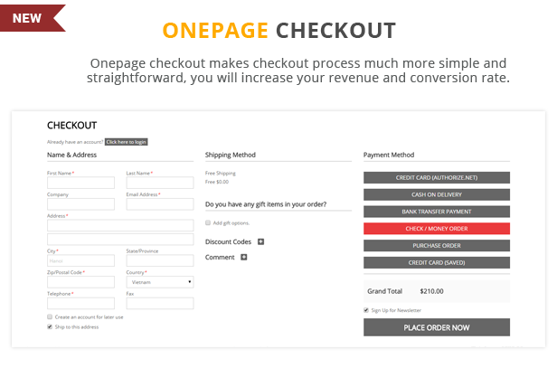 Etrostore - Onepage checkout