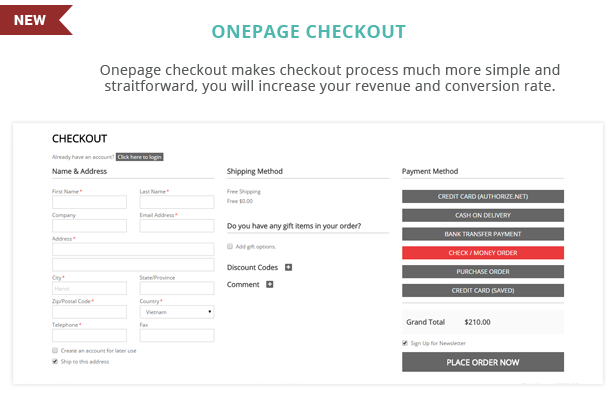 SM Madives - Onepage checkout