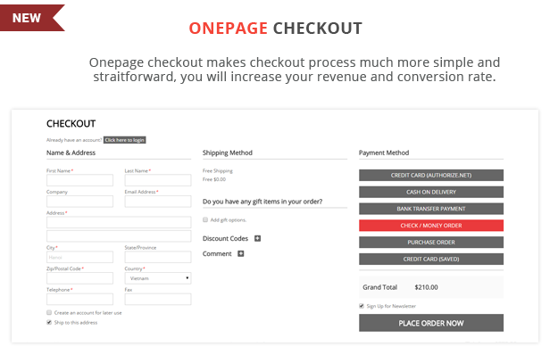 Shoppy Store - Onepage checkout