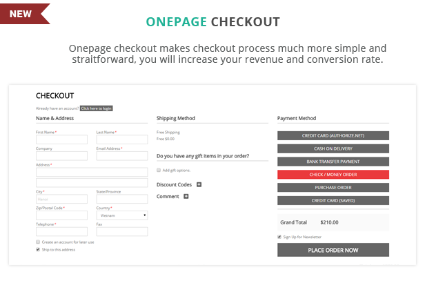 Supershop - Onepage checkout