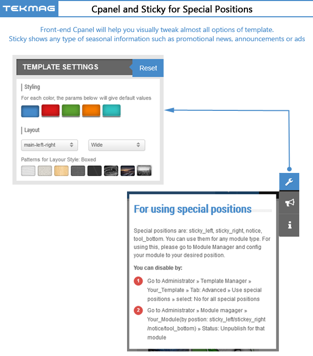 SJ Tekmag - Cpanel and Sticky for Special Positions