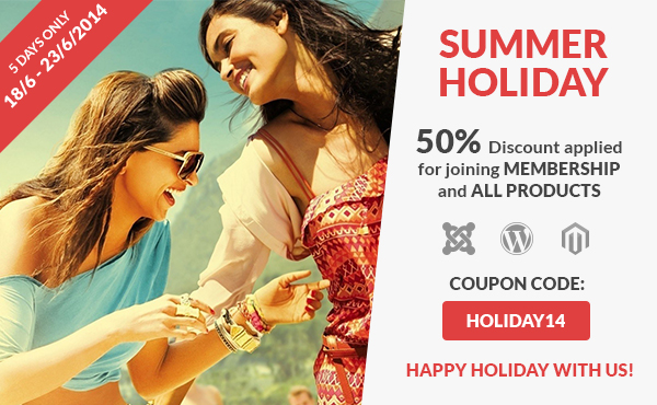 50% Discount for Summer Holiday of SmartAddons