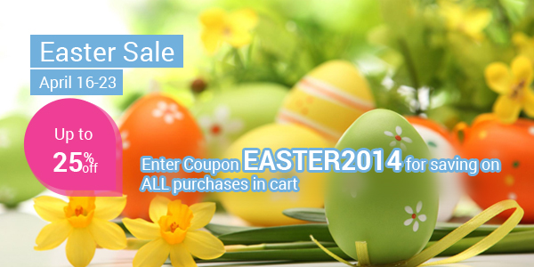 Discount Up to 25% for ALL purchases in Easter Occation!