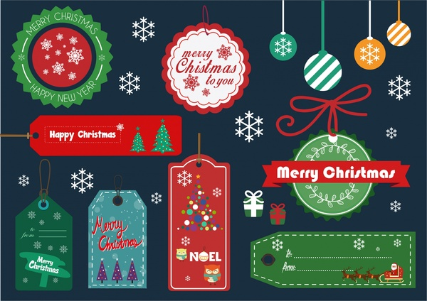 High-Quality Free Christmas Vector Graphics 2017 - elements tags