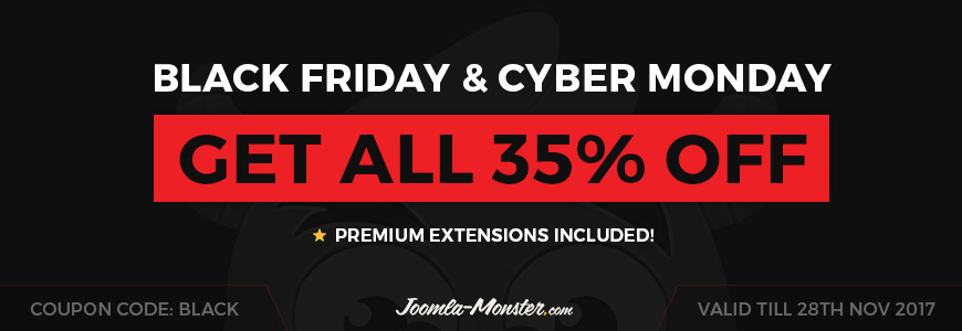 Enjoy this Thanksgiving, Black Friday & Cyber Monday with Best Deals, Coupons & Discounts from Joomla Providers