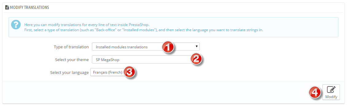translate installed modules
