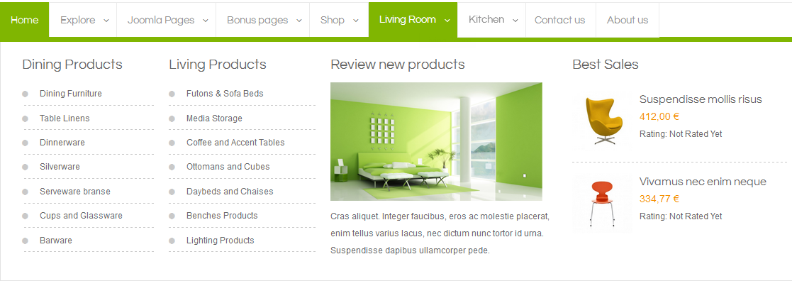 Userguide for sj saphi template for Living room menu