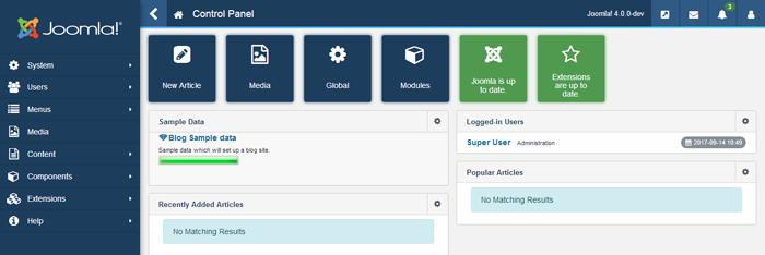 joomla 4 - backend overview