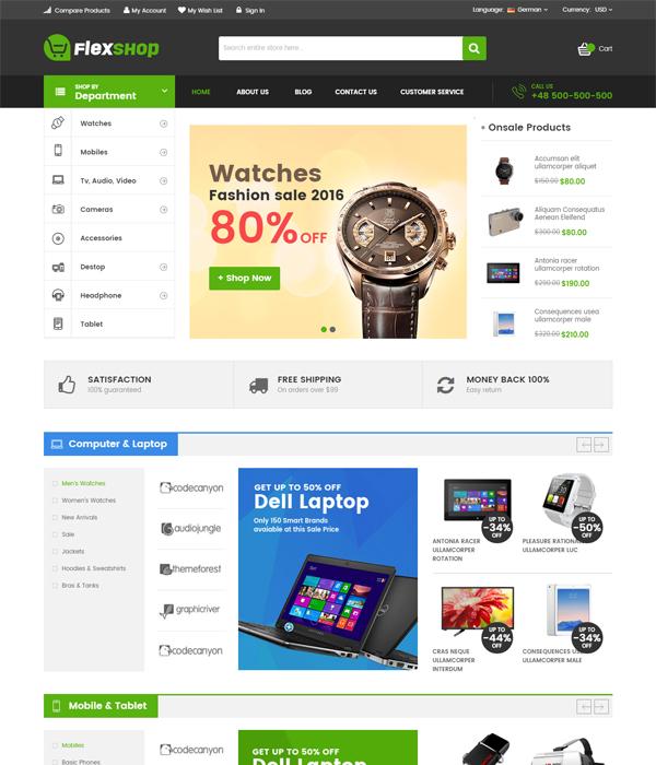 Best Magento Multi-Category Stores Themes - Flexshop