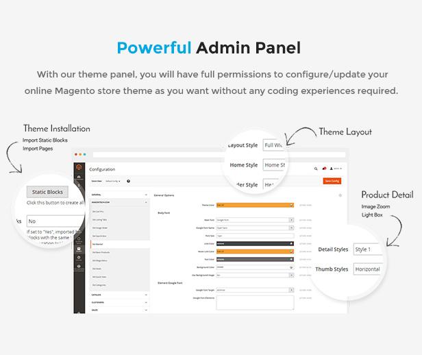 Best eCommerce Magento Theme - admin panel