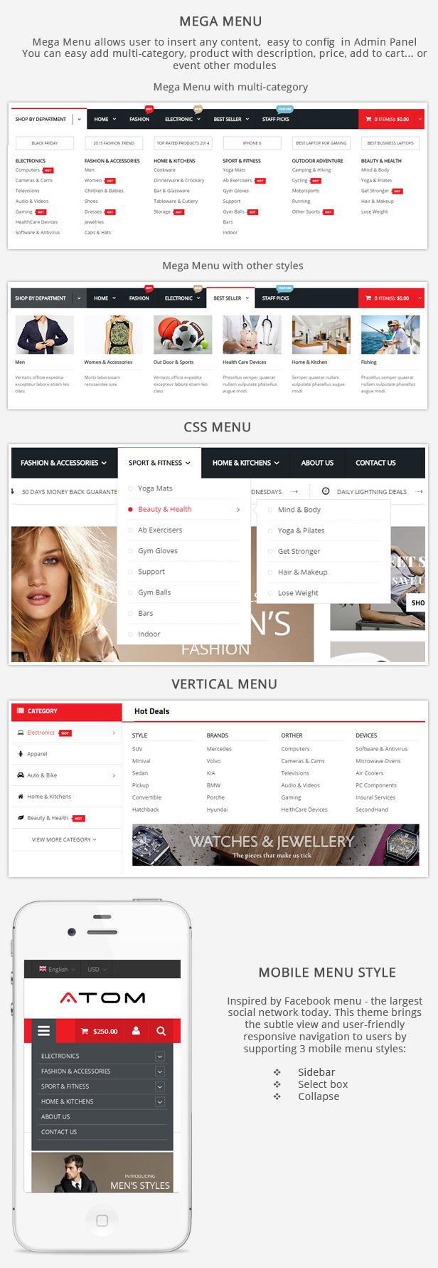 menu - Atom -  Multipurpose Responsive Magento Theme