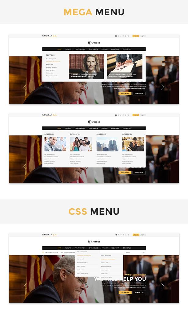 Menu-style Justice - Responsive & Multipurpose WordPress Theme theme WordPress