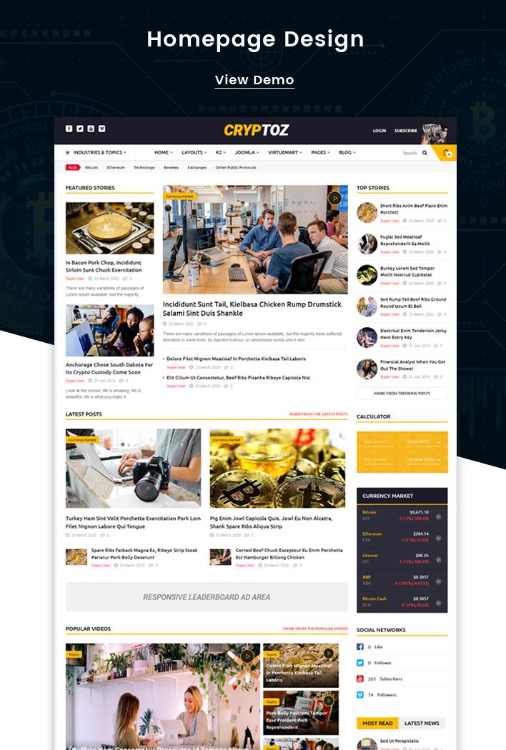 Cryptoz - Bitcoin & Cryptocurrency Joomla Template - 2