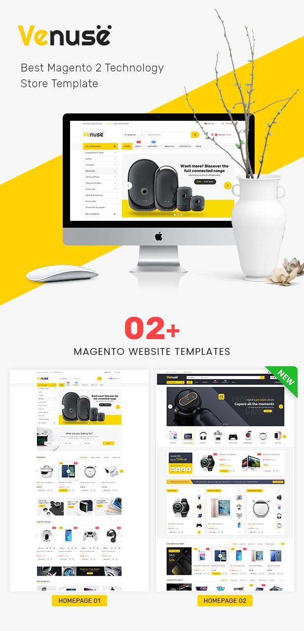 Venuse - Responsive Hitech/Digital Magento 2 Store Theme - 1