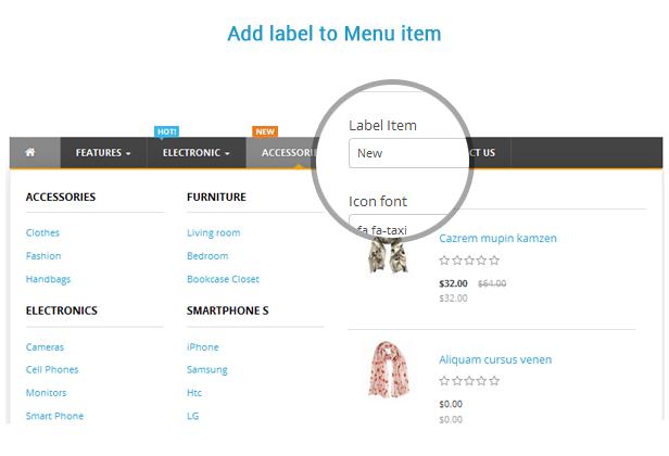 add label for menu item
