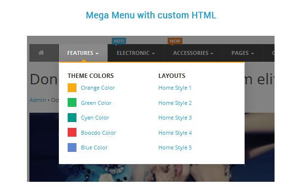 mega menu with custom html