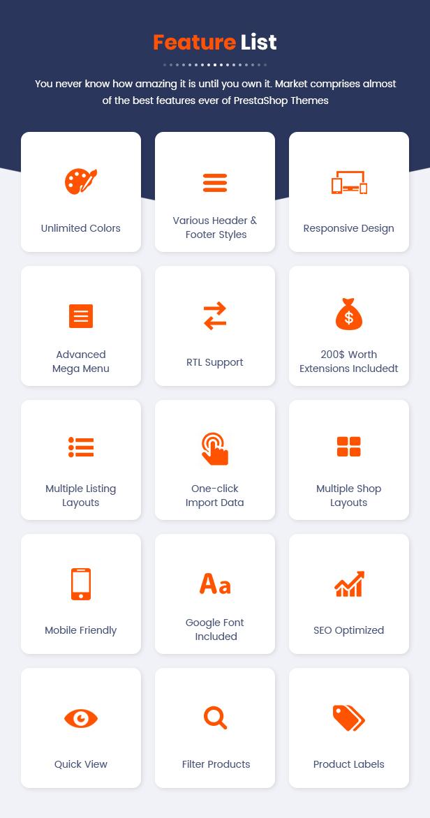 Market - Responsive Multipurpose Prestashop Theme - Key Features