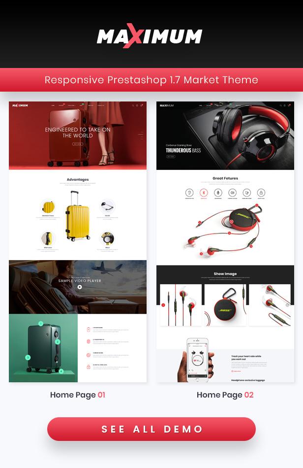 Maximum - Responsive PrestaShop 1.7 eCommerce Theme | Suitcase Store | Headphone Store - 1